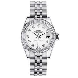 Rolex Datejust Steel with Custom Diamond Bezel and White Diamond Dial Womens Watch