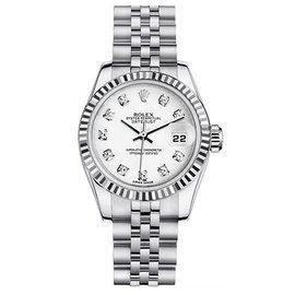 Rolex Datejust Steel with Custom White Diamond Dial Womens Watch