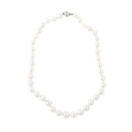 Tara 11.3x10mm Natural Color White South Sea Cultured Pearl Strand Finished With 18k White Gold Ball Clasp