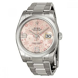 Rolex 36 Datejust 116200PFAO Stainless Steel Pink Floral Motif Dial Watch