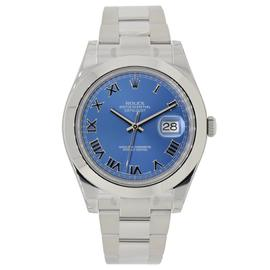 Rolex Datejust II Stainless Steel Smooth Bezel Watch Blue Roman Dial 116300