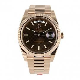 Rolex Day-Date 40 18K Everose Gold Watch Chocolate Diagonal Motif Dial 228235