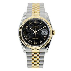 Rolex Datejust 36 Steel & Yellow Gold Watch Black Fluted Dial 116233