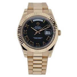 Rolex Day-Date II 18K Everose Gold Watch Black Roman Dial 218235