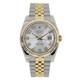 Rolex Datejust 36 Steel & Yellow Gold Watch Silver Concentric Dial 116233