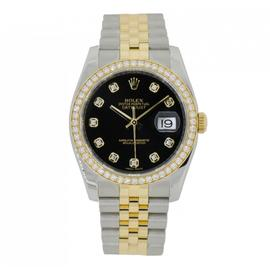 Rolex Datejust 36 Steel & Yellow Gold Watch Diamond Bezel Black Dial 116233