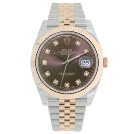 Rolex Datejust 41 Stainless Steel & Everose Gold Watch Chocolate Diamond Dial Jubilee Bracelet 126331