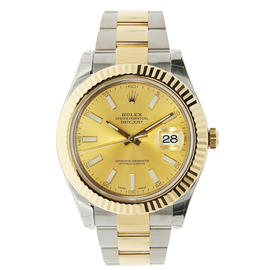 Rolex Datejust II Stainless Steel & Yellow Gold Watch Champagne Index Dial 116333