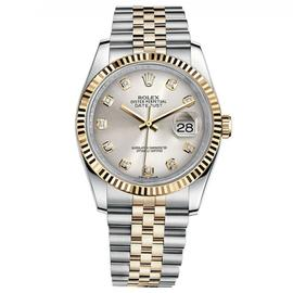 Rolex Datejust 36 Steel & Yellow Gold Oyster Bracelet Watch Silver Diamond Dial 116233