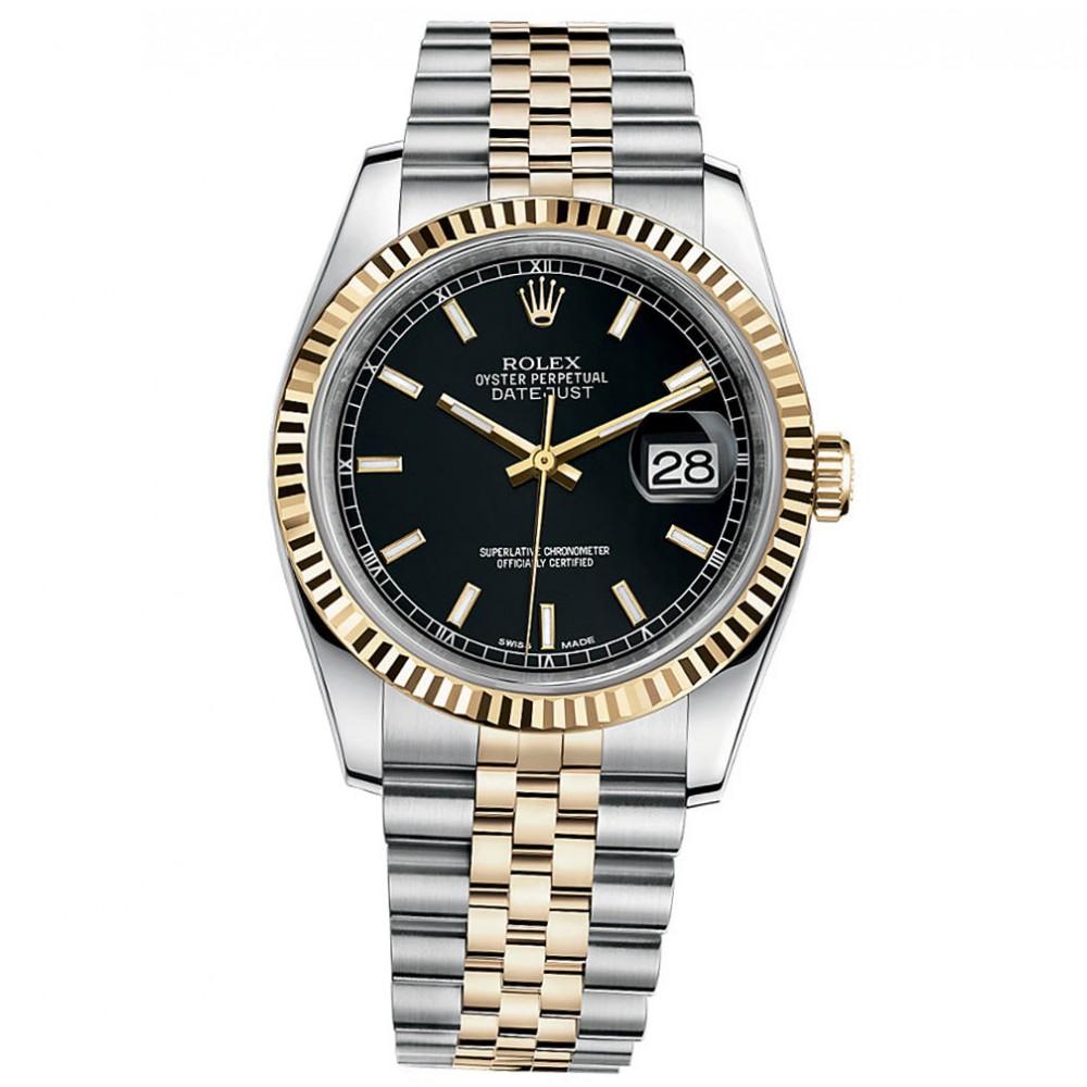 """Image of """"Rolex Datejust 36 Steel & Yellow Gold Jubilee Bracelet Watch Black"""""""