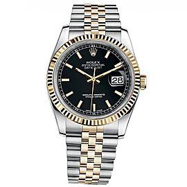 Rolex Datejust 36 Steel & Yellow Gold Jubilee Bracelet Watch Black Dial 116233