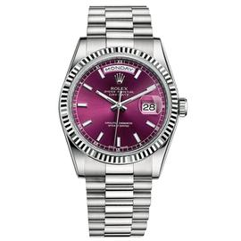 Rolex Day-Date 36 18K White Gold Watch Cherry Dial 118239