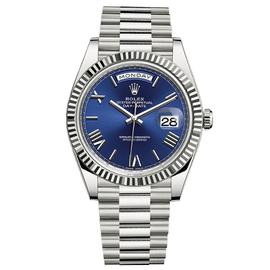 Rolex Day-Date 40 18K White Gold Watch Blue Roman Dial 228239