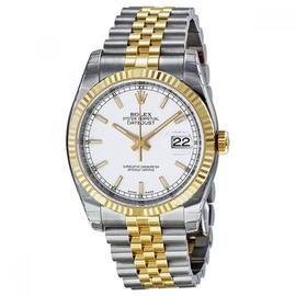 Rolex Datejust 36 Steel & Yellow Gold Watch White Dial 116233