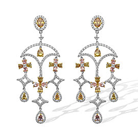 4.72ct Fancy Yellow, Pink & White Diamond 18k White Gold Chandelier Earrings