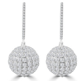 4.78ct Pave Diamond 18k White Gold Ball Earrings With Coral