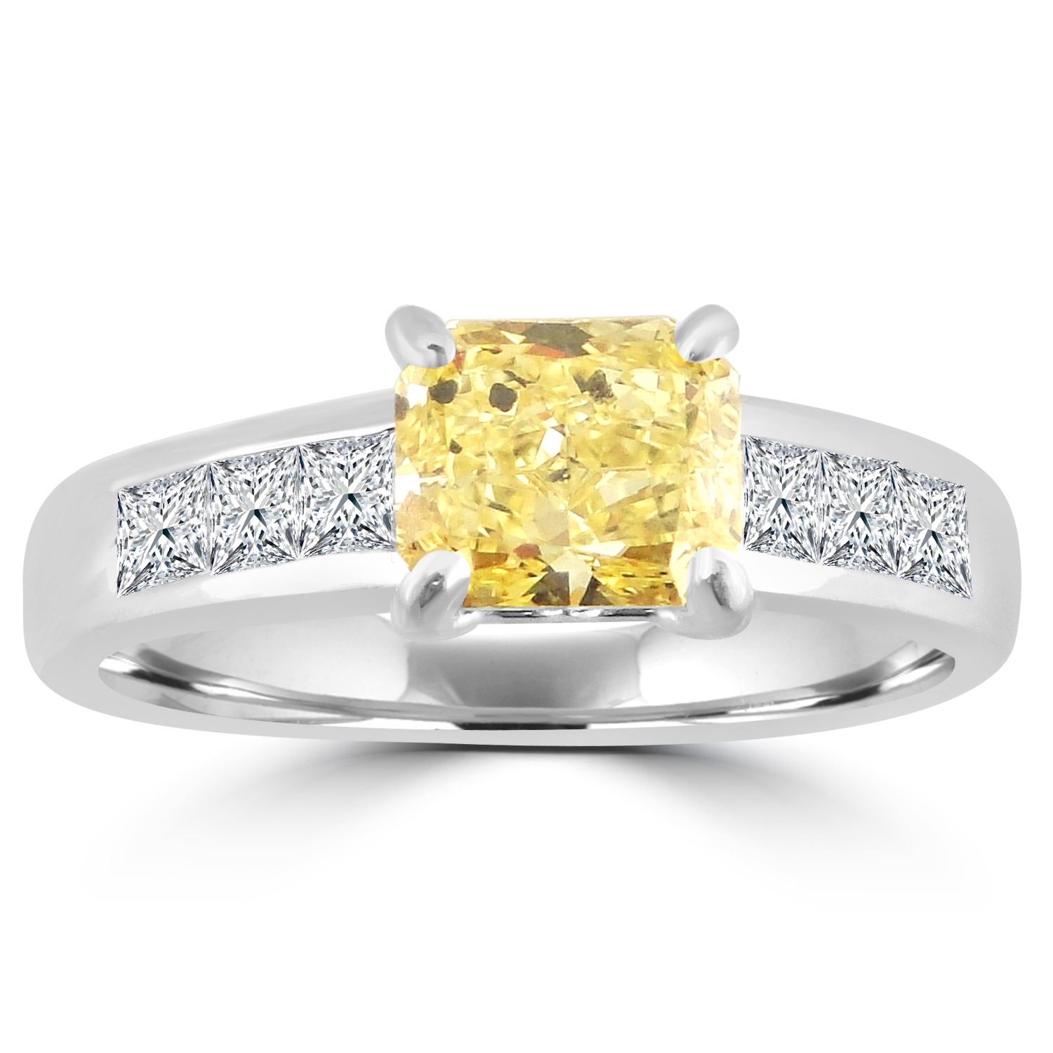 "Image of ""Ritani 1.70ct Fancy Yellow Radiant & Princess Diamond 18k White Gold"""
