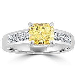 Ritani 1.70ct Fancy Yellow Radiant & Princess Diamond 18k White Gold Engagament Ring