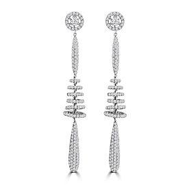 2.41ct Pave Diamond 18k White Gold Dangle Earrings