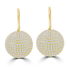 8.63ct Diamond 18k Yellow Gold Dangle Ball Earrings