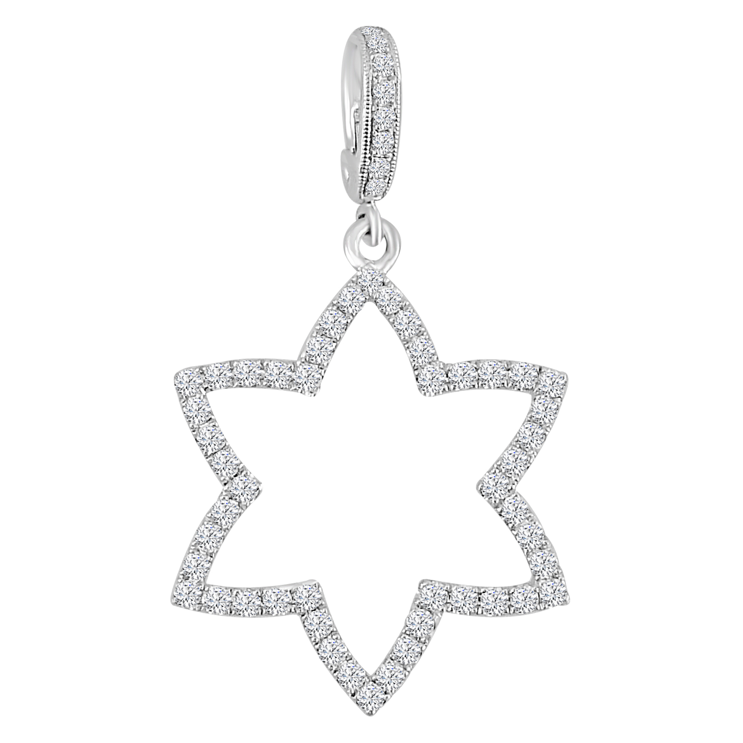 "Image of ""0.76ct Pave Diamond 18k White Gold Star Pendant"""