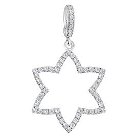 0.76ct Pave Diamond 18k White Gold Star Pendant