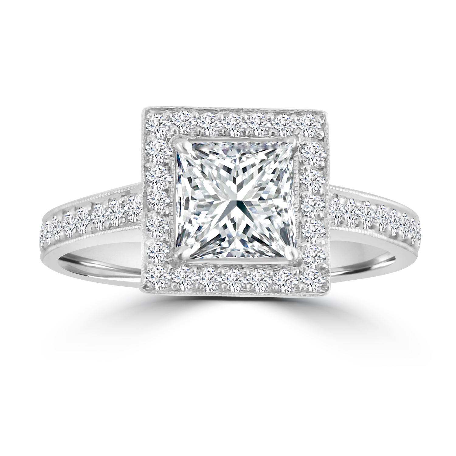 "Image of ""1.40ct Princess & Round Diamond Pt950 Milgrain Square Halo Engagament"""