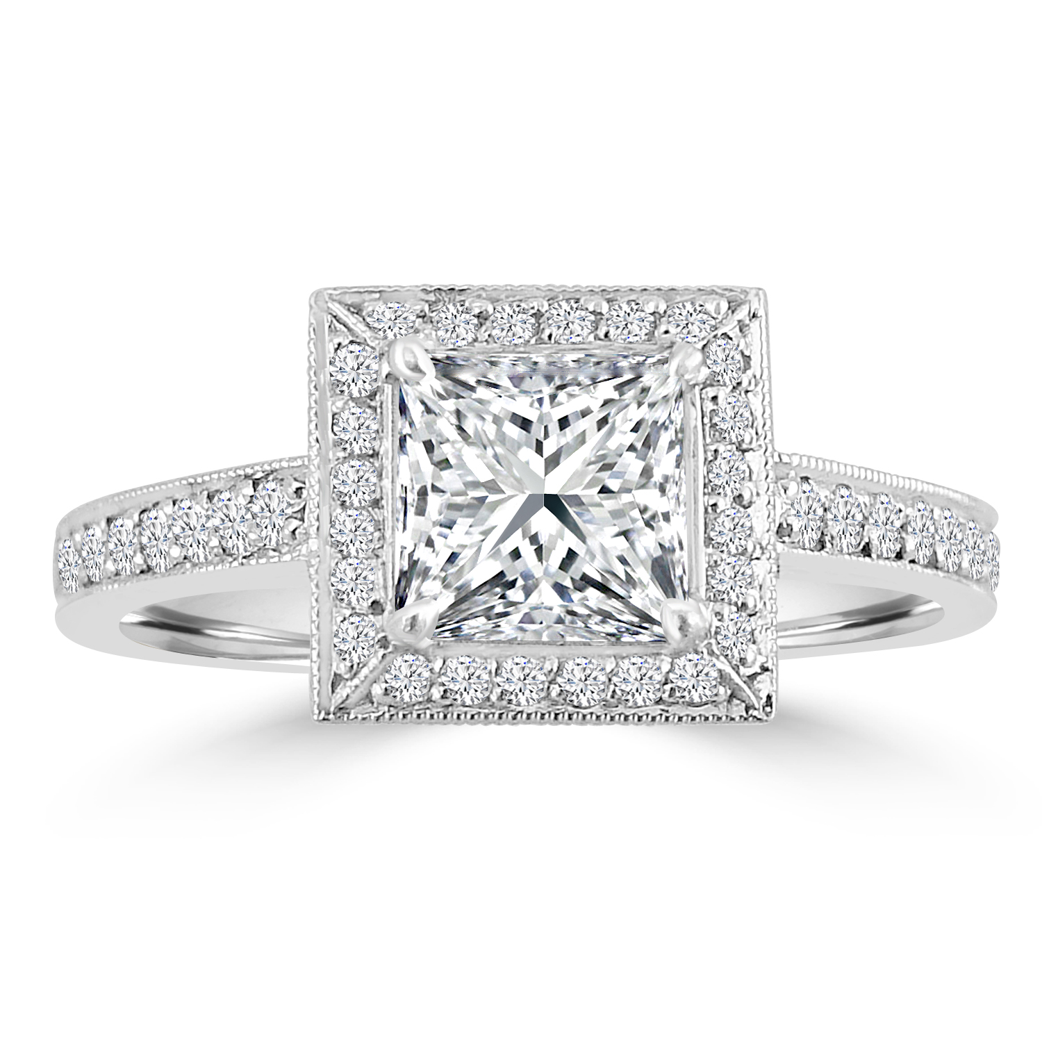 "Image of ""1.33ct Princess & Round Diamond Pt950 Halo Engagement Ring"""