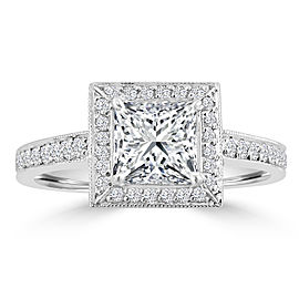 1.33ct Princess & Round Diamond Pt950 Halo Engagement Ring