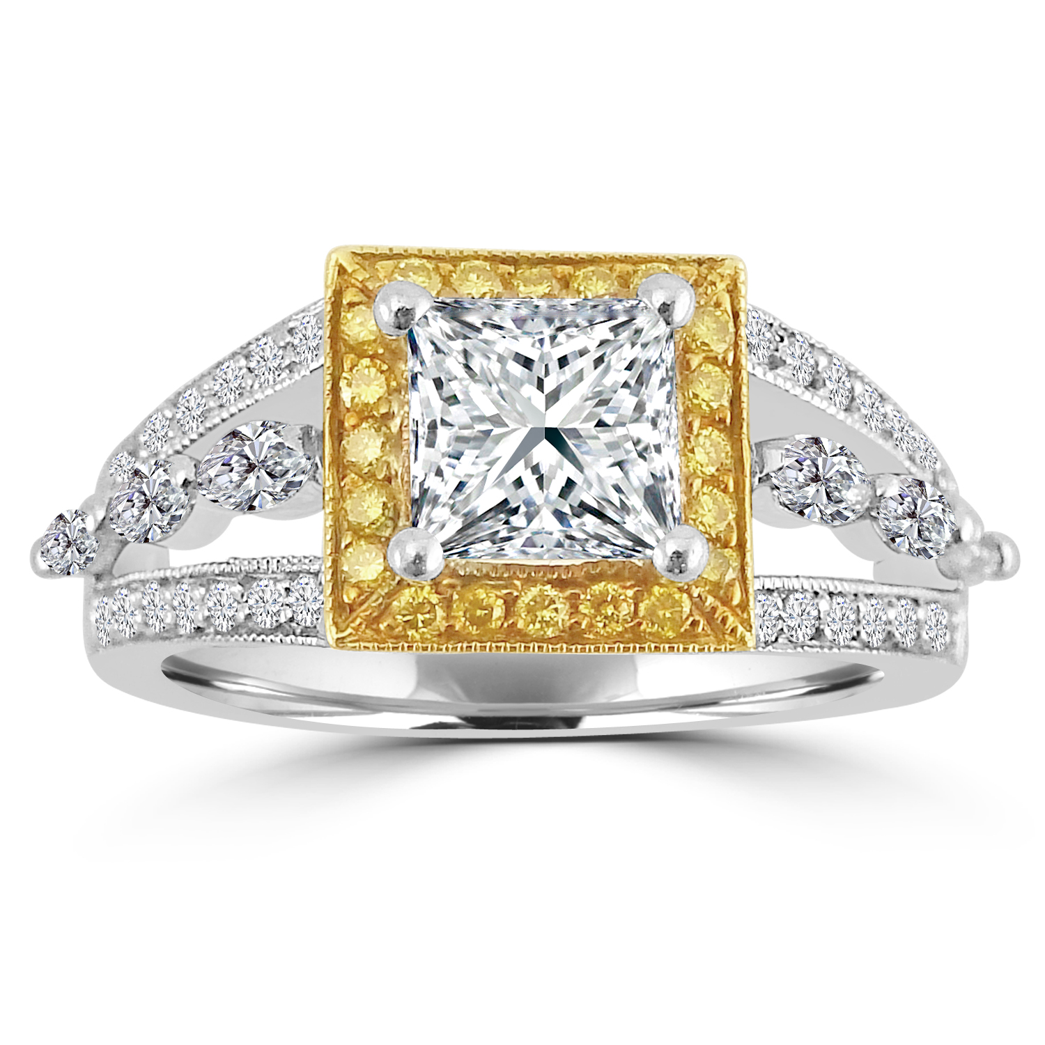 "Image of ""1.60ct Fancy Yellow & White Diamond Square Halo Ring"""