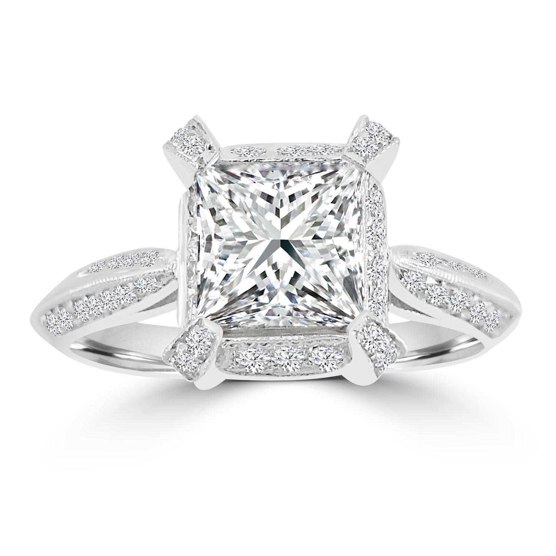 "Image of ""1.87ct Princess & Round Diamond 18k White Gold Engagement Milgrain"""