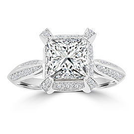 1.87ct Princess & Round Diamond 18k White Gold Engagement Milgrain Ring