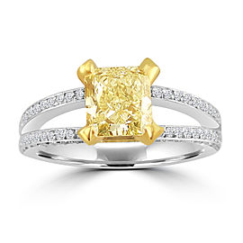 2.22ct Fancy Yellow Radiant Diamond 18k Tt Gold Split Shank Ring