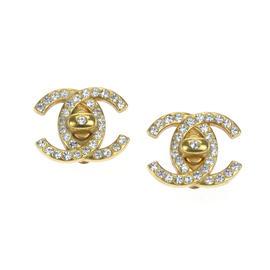 Chanel Gold-Tone Metal & Rhinestone CC Clip-On Earrings