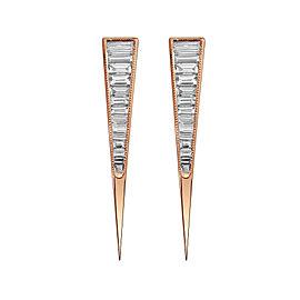 Baugette Diamond Earrings in 18k Rose Gold