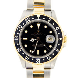 Rolex GMT-Master II 16713 2Tone 18K Yellow Gold/Stainless Steel Oyster Black Mens Watch