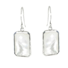 Ippolita 925 Sterling Silver Mother of Pearl & Clear Quartz Doublet Earrings