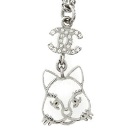 Chanel Silver Tone Hardware Rhinestone Cat Motif Pendant Necklace