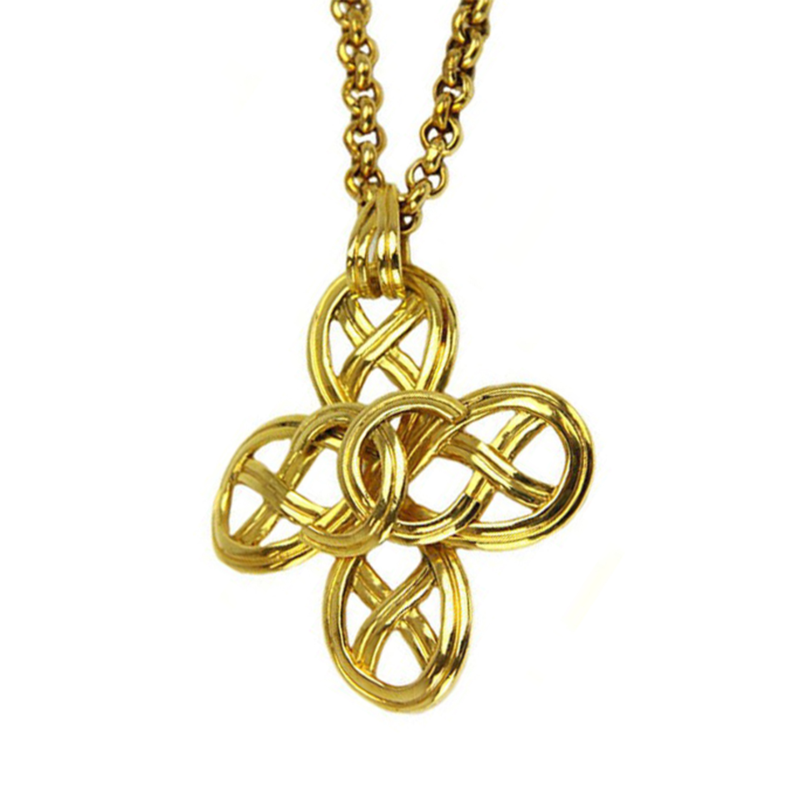 """Image of """"Chanel CC Gold Tone Metal Coco Mark Necklace"""""""