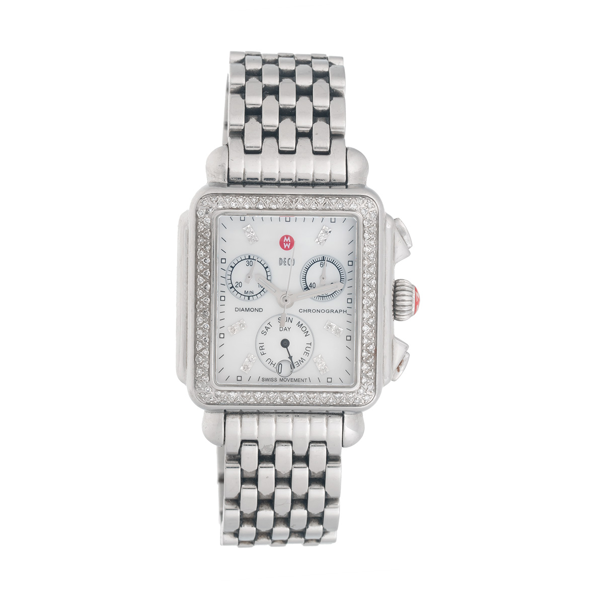 "Image of ""Michele Womens Stainless Steel Mw06P01A1046 Deco Diamond-Accented"""