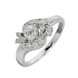 Mikimoto Platinum 0.40 Ct Diamond Ring Size 6.5