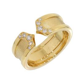 Cartier 18K Yellow Gold Diamonds Double C Motif Ring Size 4.25