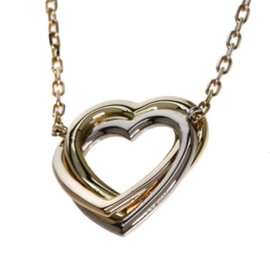 Cartier 18K Yellow, White & Rose Gold Heart Necklace