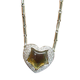 Chimento 18K White Gold Citrine Diamond Heart Pendant Necklace
