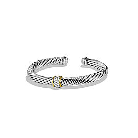 David Yurman Sterling Silver & 18K Yellow Gold Diamond Cable Classic Bracelet
