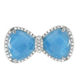 14K White Gold Turquoise Diamond Bow Tie Fashion Cocktail Ring