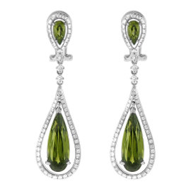 14K White Gold Garnet Diamond Fashion Earrings