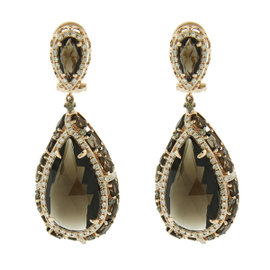 14K Rose Gold Diamond and Smokey Topaz Earrings