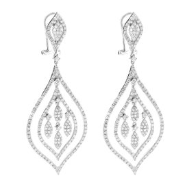 14K White Gold Diamond Unique Chandelier Earrings