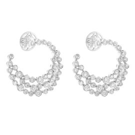 14K White Gold Diamond Crescent Earrings